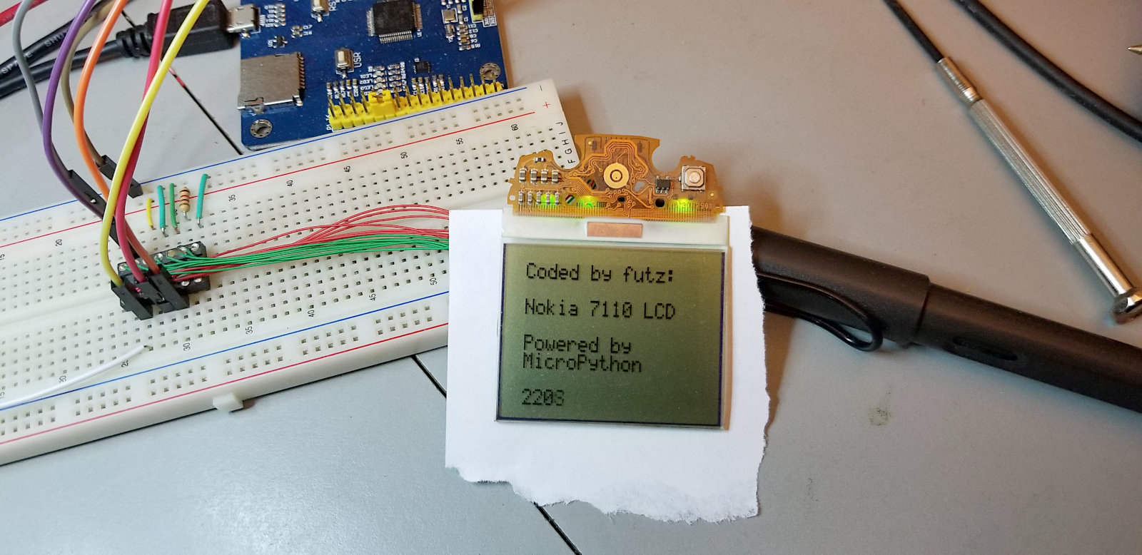 Pyboard driving Nokia 7110 LCD | Futz's Microcontrollers & Robotics